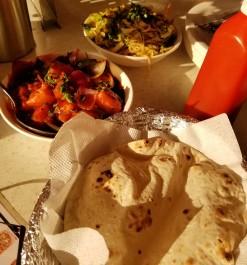 Noodles, Kadhai paneer, Roti
