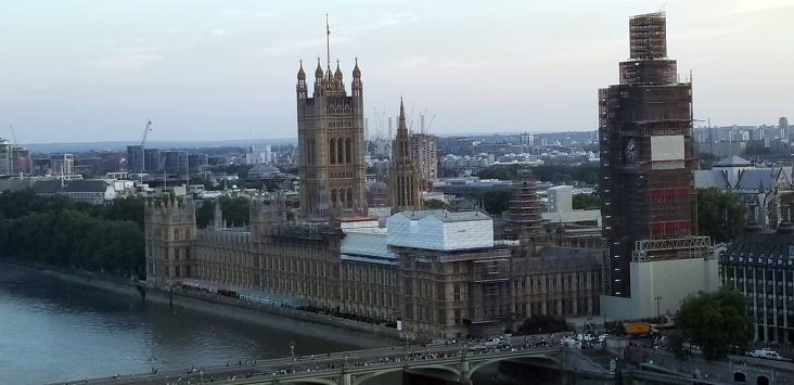 View of Houses of Parliament from London Eye